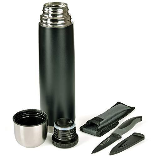 GRÄWE Thermoflasche mit Allzweckmesser, Outdoor, Set, 1L Vakuum-Isolierte Isolierflasche mit Drehverschluss inkl. farblich passendem Messer - Schwarz