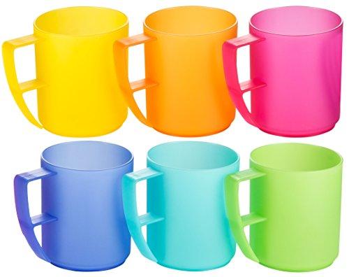 Kigima Trinkbecher Rainbow mit Henkel 0,3l 6er Set extra stabil bunt