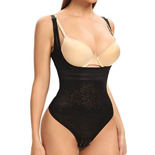 Joyshaper Figurformender Body Damen Tanga stark Bauch Weg Taillenformer Formende Bodys Miederbody mit Haken Shaping Bodysuit (Schwarz, Small)