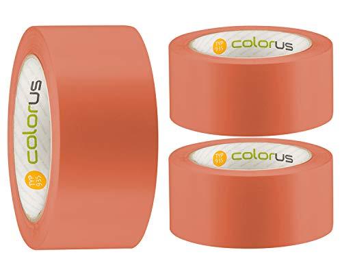 3 x Colorus PVC-Schutzband PLUS | Putzband 50 mm x 33 m orange glatt | Klebeband für Innen und Außen | 14 Tage UV-Beständigkeit | Putzerband Abdeckband leicht abreißbar | Abklebeband