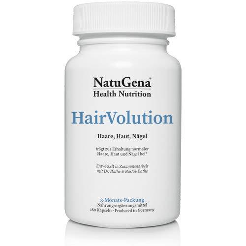 NatuGena Hair Volution, für Haut, Haare und Nägel, mit natürlichen Vitalstoffen und bioaktiven Vitaminen, 180 Kapseln für 90 Tage