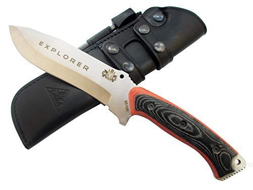 Explorer - Outdoor Camping Gürtelmesser Jagdmesser Überlebensmesser Survival Bushcraft Messer, Premium Qualität, Stahl MOVA-58, Lederscheide und Feuerstahl. Entworfen
