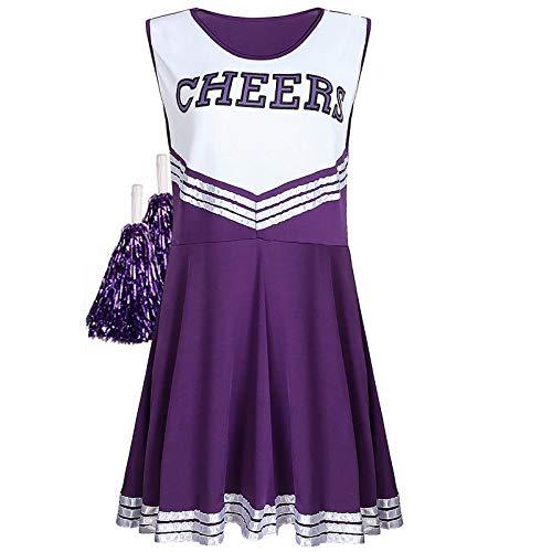 Sakurio Cheerleader-Outfit für Damen, American Musical Sport, High School, Halloween, Cheerleader-Kostüm mit Pompons Gr. M, violett