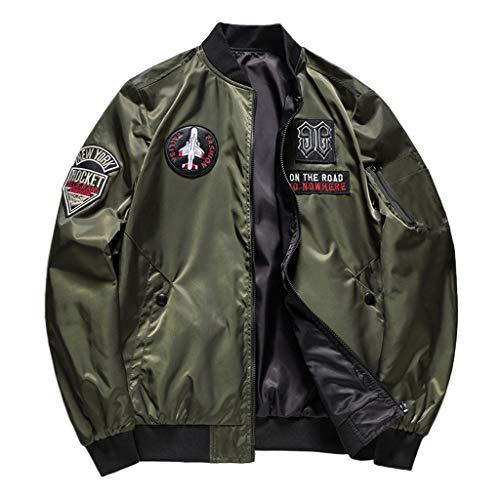 MAYOGO Herren Jacke Army Bomba Jacke Militär Jacke Cool Zip Sweatjacke Baseball Softshelljacke Übergangsjacke College Jacke Outdoor Jacke (Grün, XXL)