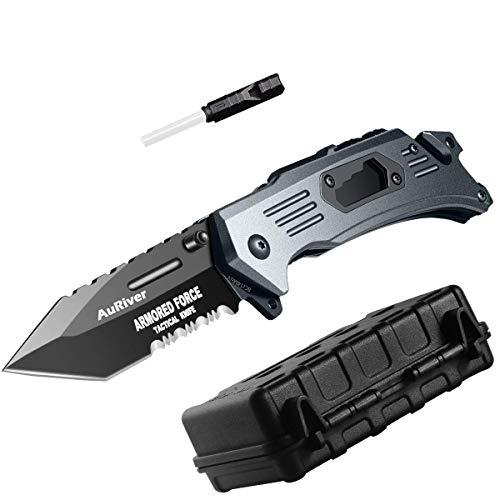 6-in-1 Klappmesser Outdoor Extra Scharf Messer,Taschenmesser mit Überzug Titan Edelstahl, Jagdmesser mit Anspitzer Pfeifen Flaschenöffner Schraubenzieher Glasbrecher Gurtschneider