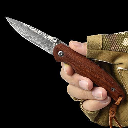 AUBEY Damast Taschenmesser Klein Klappmesser Holzgriff EDC Messer aus Damaststahl Mini Einhandmesser Outdoor Survival Folder Knife, 6 cm Klinge