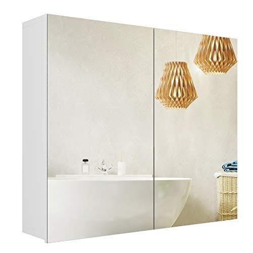Homfa Spiegelschrank Badezimmerschrank Badschrank Spiegel mit Doppeltüriger Badezimmerspiegel Wandschrank verstellbaren Einlegeböden Holz weiß 70x15x60cm