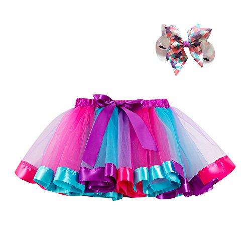 Lazzboy Mädchen Kinder Tutu Party Tanz Ballett Kleinkind Baby Kostüm Rock + Bogen Haarnadel Regenbogen Tüllrock Tütü Ballettrock Tanzkleid Ballettkleid Ballettröckchen (Lila,M)