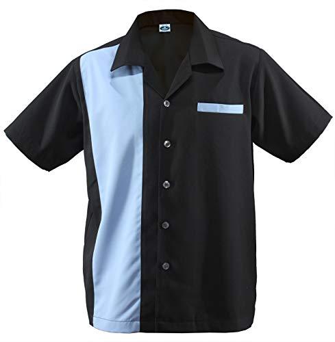 Herren Bowling Shirt Worker Hemd Rockabilly Two Tone Gabardine Lounge Fifties Vintage Retro Double Panel D660 (XL/X-Large, Schwarz/Blau)