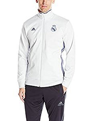 adidas Men's Real Madrid 3 Stripe Track Top, Large, Crystal White