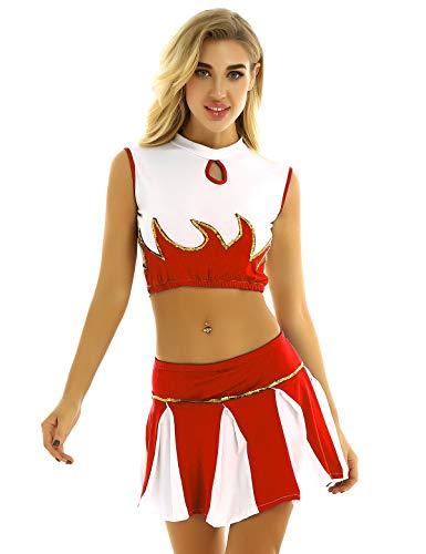 dPois Damen Cheerleading Schulmädchen Uniform Kostüm Crop Top Mini Rock mit Pailletten Cosplay Verkleidung Outfits für Fasching Karneval Rot Small