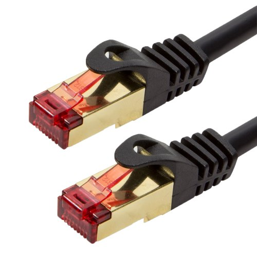 BIGtec Premium 10m Gigabit Ethernet LAN Kabel Patchkabel Netzwerkkabel schwarz - doppelt geschirmt - vergoldet