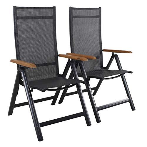 Ambientehome Aluminium Luxus Klappstuhl 2er Set Hochlehner Gartensessel Aluminiumsessel 4x4 Textilen Armlehnen aus Akazie schwarz