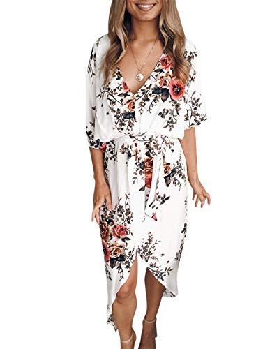 YOINS Sommerkleid Damen Lang V-Ausschnitt Off Shoulder Maxikleider für Damen Kleider Lose Kleid Strandmode,Weiß,EU 36-38(Small)
