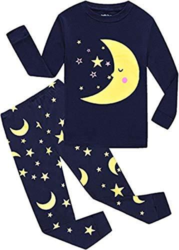 EULLA Schlafanzüge für Jungen Zweiteiliger Baumwolle Kinder Nachtwäsche Dinosaurier Star Mond DE 110