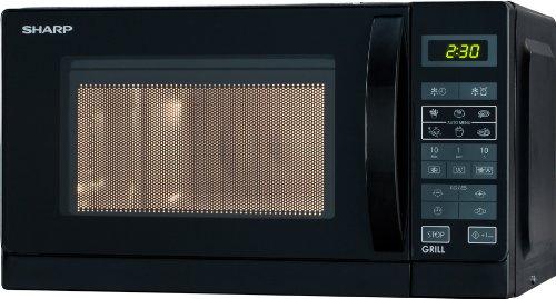 Sharp R642BKW 2-in-1 Mikrowelle mit Grill / 20 L / 800 W / 1000 W Quarzgrill / 8 Automatikprogramme / Timer / Kindersicherung / Energiesparmodus / Glasdrehteller (25,5 cm) / schwarz