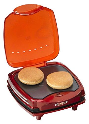 Ariete 185 Party Time – Hamburger-Maker, 1200 W, doppelte Heizplatte mit Antihaftbeschichtung, Farbe: Rot