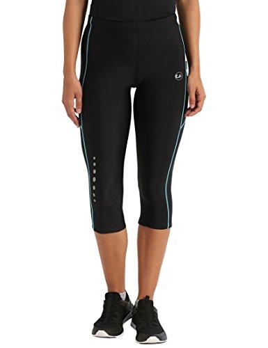 Ultrasport Damen Laufhose, 3/4 Lang, black turquioise, XL, 10289