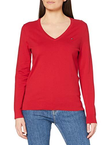 Tommy Hilfiger Damen Heritage V-Neck Sweater Pullover, Rot (Apple Red 611), XL
