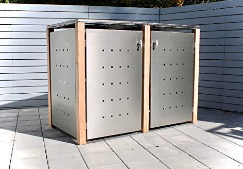 KIRCHBERGER METALL Mülltonnenbox bis 120 Liter Edelstahl Holzpfosten 2er Box abschließbarer Griff Lärche (Flachdach)
