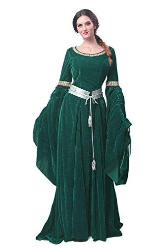 Damen Mittelalterliches Maxikleid Renaissance Prinzessin Mädchen Lange ausgestellte Ärmel Kostüm Irish Gothic Vintage Viktorianischen Retro Kleid - Grün - Large