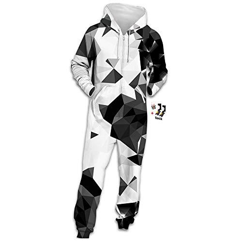 Morbuy Herren Jumpsuit Jogger, Unisex Herren Kapuzenpullover Strampelanzug 3D Printed Onepiece Sweatshirt Männer Strampler Weich Nachtwäsche Fitness Bekleidung (M, Grau-schwarzes Dreieck)