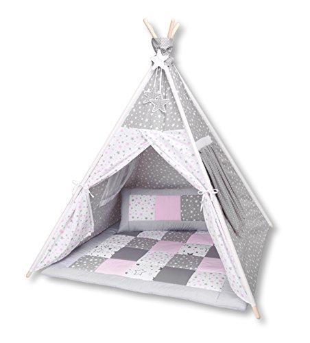 Amilian® Tipi Spielzelt Zelt für Kinder T40 (Spielzelt mit der Tipidecke und Kissen)
