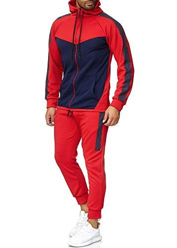 OneRedox Herren Jogginganzug Sportanzug Trainingsanzug Sweatshirt Hose Jogging Anzug Modell 1053 Rot XL
