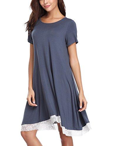Aibrou Damen Baumwolle Nachthemd Rundhals Kurzarm Nachtkleid Sleepwear mit Spitzensaum (S-XXL) Dunkelgrau XL
