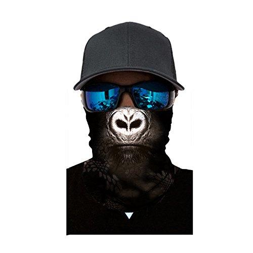 Xniral 3d Gesichtsschal Bandana Tiermund Halsmanschette Winddichter Nahtloser Bedruckte Schlauch Multifunktionales Tuch für Männer Motorrad Radfahren Angeln Wandern(X)