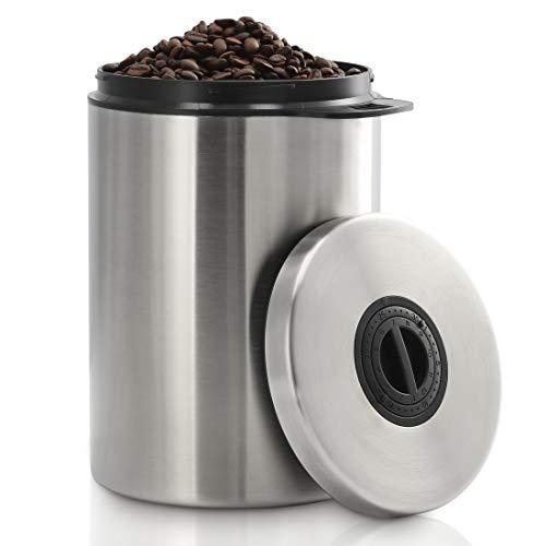 Xavax Kaffeedose luftdicht für 1 kg Kaffeebohnen (Behälter für Kaffee, Tee, Kakao, Nudeln, Edelstahl Dose zur Aufbewahrung mit Aromaverschluss, Vorratsdose für 1000 g Kaffee) silber