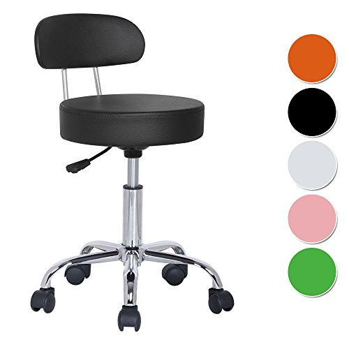 SixBros. Sitzhocker höhenverstellbar, Drehhocker mit Rollen, Hocker aus Kunstleder, verstellbar, Rückenlehne, schwarz M-95027X/2129