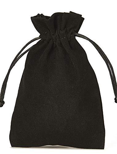 organzabeutel24 | 12 Samtsäckchen, Größe 15x10 cm, Samtbeutel-Geschenkverpackung, Adventskalender, Nikolausverpackung, Weihnachtsverpackung (Schwarz)