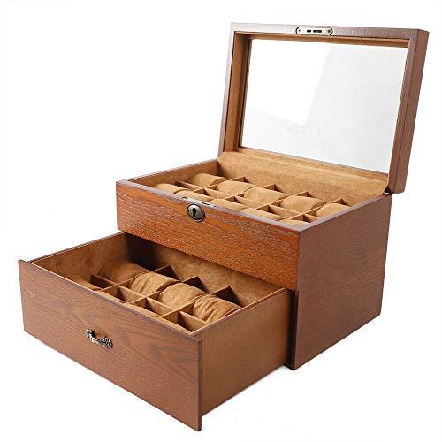 2 Lagige 20 Schlitz Holz Uhrenbox Schmuckkästchen Aufbewahrungskiste Holzvitrine Schmucklagerung, Braun, Mit Oberlicht