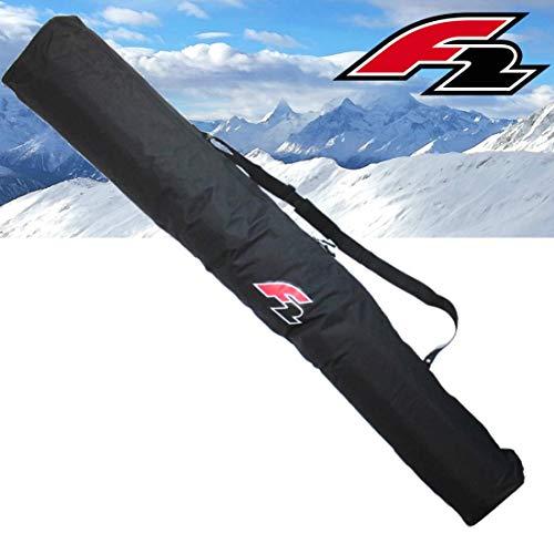 F2 Skitasche Classic für 1 Paar Alpinski mit Stöcken große Transporttasche 1 Pair Ski Ausrüstung mit Tragegurt Schwarz ~yx