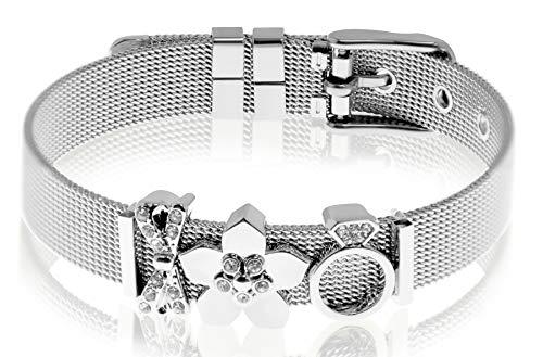 Entzückt - Mesh Armband Frauen | Individuelle Anhänger | Charms austauschbar | Edelstahl | Charmband Set | Schmuck | Silber Rosegold Gold Schwarz (Schick - Silber)