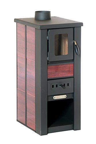 acerto 20119 LAVA Kaminofen Ceramic rot mit Sichtfenster, 35x44x82 cm – Kompakter Premium Holzofen für kleine Räume mit 8,5kW Heizleistung