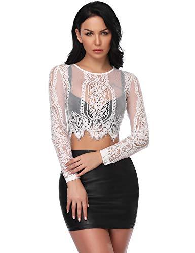 Abollria Damen Spitzen Shirt Sexy Transparent Netz Dekolleté Top Rundhals Party Oberteile Mesh Crop Top,Weiß,M