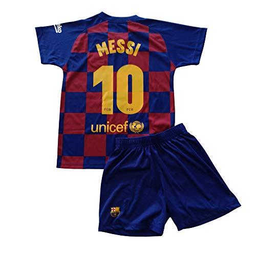 FCB Trikot und Hose, Erste Mannschaft, für Kinder, Messi vom FC Barcelona, offizielles Lizenzprodukt, Saison 2019–2020, Farbe: blau-rot (Größe 10)