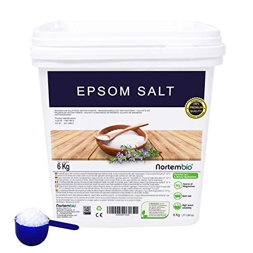 NortemBio Epsom Salz 6 Kg. Konzentrierte Magnesiumquelle, 100% Natürliches Salz. Bad und Körperpflege. E-Book Inklusiv.