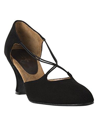 Rumpf 9112 Tanzschuhe Wildleder Latein Salsa Rumba Tango Ballroom Schuhe, Chromledersohle Absatz 7 cm Made in Italy, Schwarz, 41 EU
