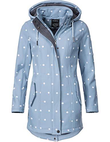 Peak Time Damen Softshell Mantel L60013 Hellblau/Weiß gepunktet Gr. L