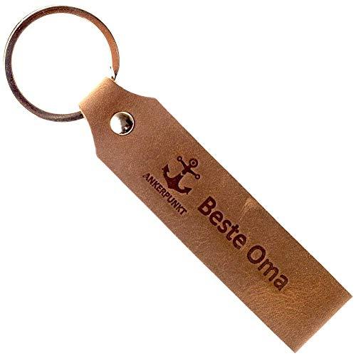 Ankerpunkt Schlüsselanhänger Leder mit Gravur Beste Oma - Muttertagsgeschenk Geschenke für die Oma - Geschenkidee zum Geburtstag Muttertag - Made in Germany (Dunkelbraun) Used Look
