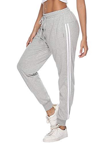 Hawiton Damen Sporthose Jogginghose Lang Streifen Baumwolle Freizeithose Hose für Fitness Training Grau L