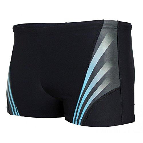 Aquarti Herren Kurze Badehose mit Streifen, Farbe: Schwarz/Blau, Größe: 8XL