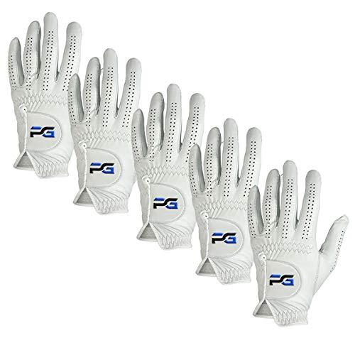 PG Golfhandschuhe (5 Stück) Cabretta-Leder, Premium-Qualität, Herren-Golfhandschuhe, Linkshänder-Handschuhe für Rechtshänder-Golfer