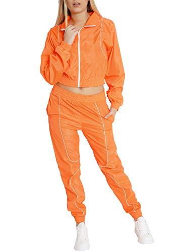 Worldclassca Damen Windbreaker Jogginganzug Jogging Suit NEON Farben Trainingsanzug Jogging Fitness Sport Yoga Club Sportanzug LEICHT Jacke MIT Hose Set 2TLG Langarm Blogger S-L (M, Neon-Orange)