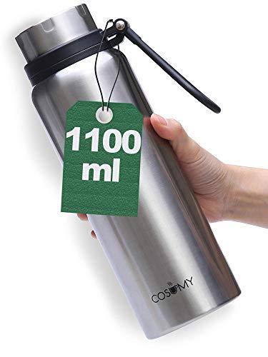 Cosumy Thermosflasche aus Edelstahl - 1000 ml - Auslaufsicher - Doppelwandige Isolierflasche - Kohlensäure Geeignet