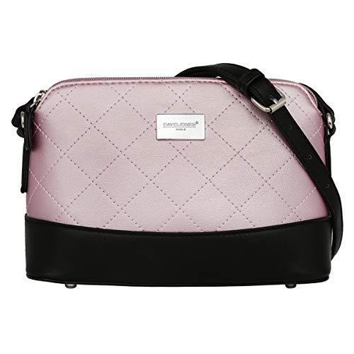 David Jones - Damen Gestepptes Leder Umhängetasche - Frauen Steppmuster Klassisch PU Leder Schultertasche - Viele Taschen Abendtasche - Zipper City Crossbody Bag - Elegante Feste Tasche - Pink