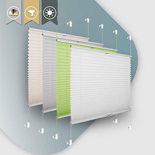 Plissee ohne Bohren klemmfix Jalousie Sonnenschutz Easyfix Faltrollo Crushed Optik Lichtdurchlässig Rollo für Fenster & Tür Weiß 85x100cm(BXH)